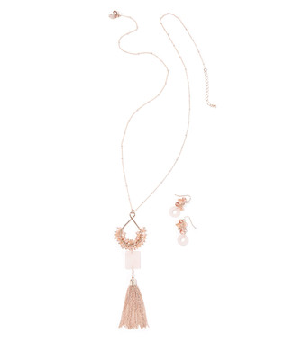Women's faded pink pendent tassel necklace set