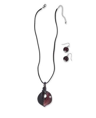 Women's artistic twisted teardrop necklace and earrings set