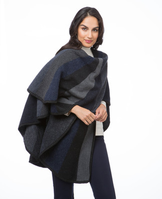 Women's navy colour block poncho shawl