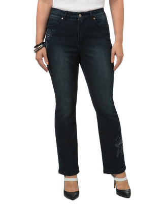 Petite Embroidered Lead Jean
