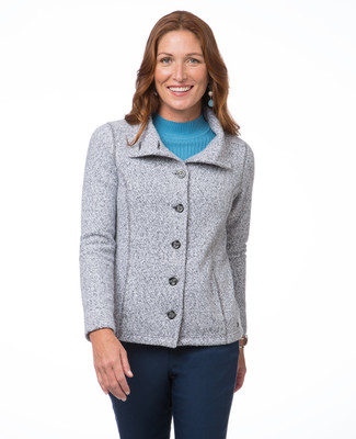 Women's light grey long sleeve button-up fuzzy jacket