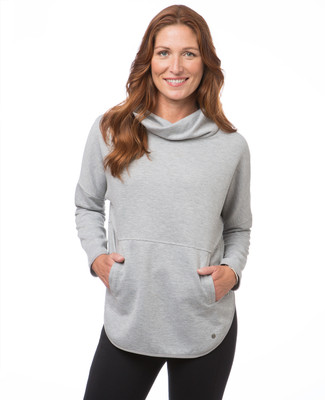 Women's light grey long sleeve active pullover