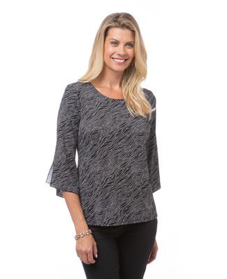 Women's black split flutter sleeve blouse