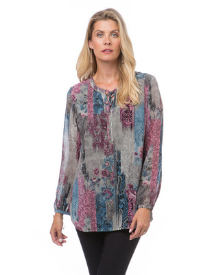 Women's tie neck tunic top