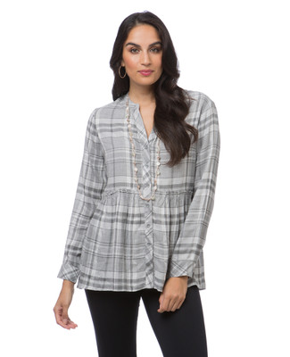 Women's grey plaid swing shirt