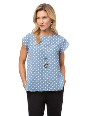 Women's polka dot denim shirt