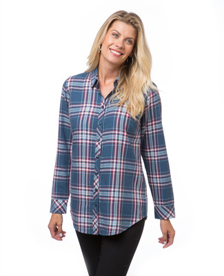 Women's petrol blue plaid shirt