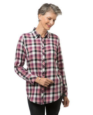 Women's pink berry plaid shirt