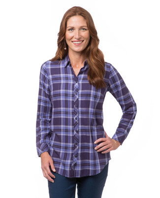 Velvet Purple Yarn Dye Plaid Shirt