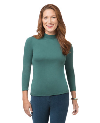 Women's mock neck long sleeve tee