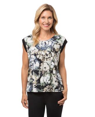 Women's black floral top