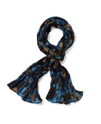 Crimped Floral Scarf