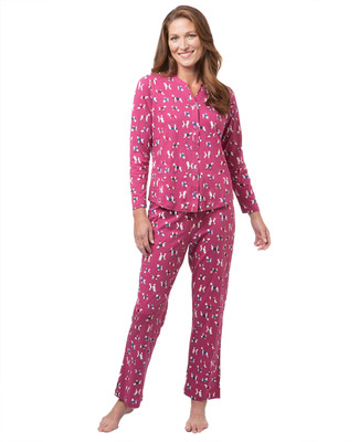 Women's pink dog print pyjama set