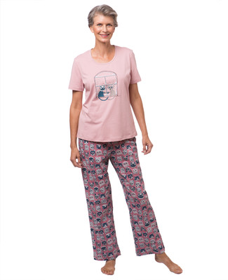 Women's cat print pyjama set