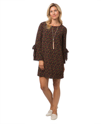 Women's floral print tunic with bell sleeves