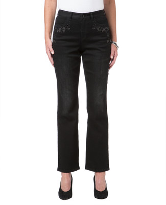Women's black straight leg jeans with embellished details