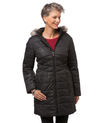 Women's longline black quilted jacket with hood