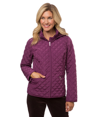Women's purple quilted jacket with hood
