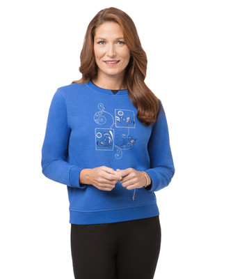 Women's petite blue stone graphic bird sweatshirt