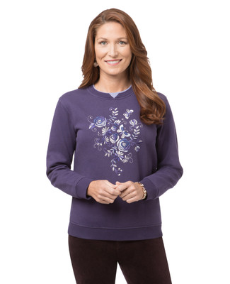 Women's velvet purple butterfly embroidered sweatshirt