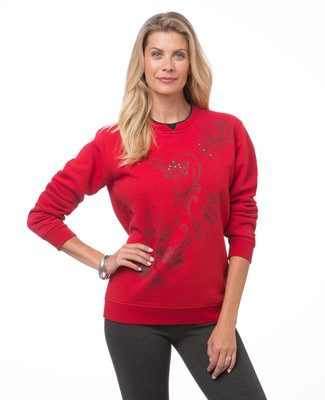 Women's Canada red floral embroidered sweatshirt