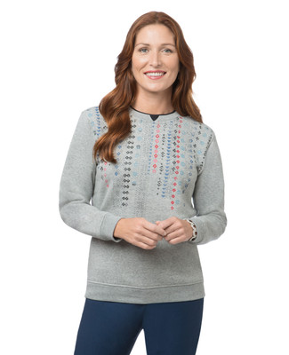 Women's grey geo pattern sweatshirt