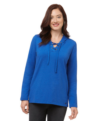 Women's blue long sleeve lace-up top