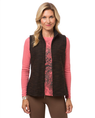 Women's brown zip front vest