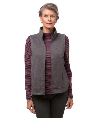 Women's standing collar zip front vest