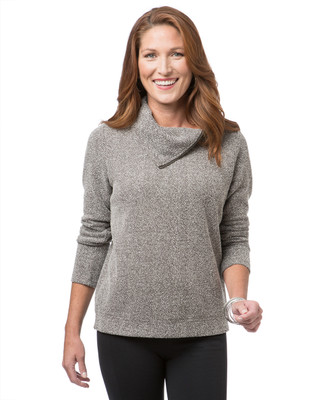 Women's brown cowl neck pullover sweater