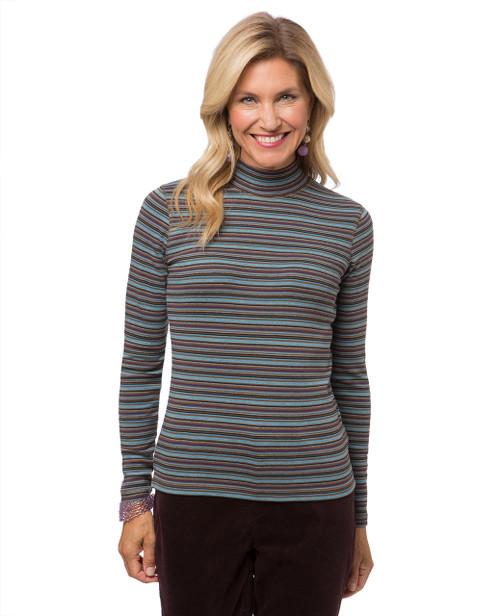 Women's long sleeve striped mock neck t-shirt