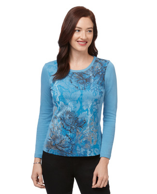 Women's blue long sleeve print top