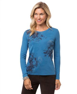 Women's blue long sleeve print t-shirt