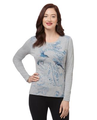Women's grey long sleeve bird print top