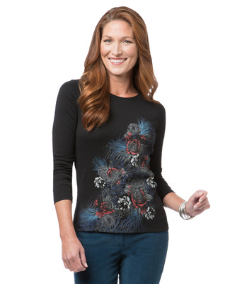 Women's black floral crew neck tee