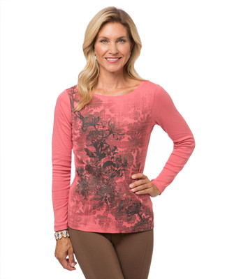 Women's pink long sleeve floral print t-shirt