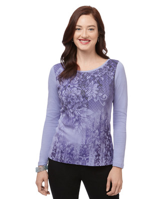 Women's purple long sleeve floral print top
