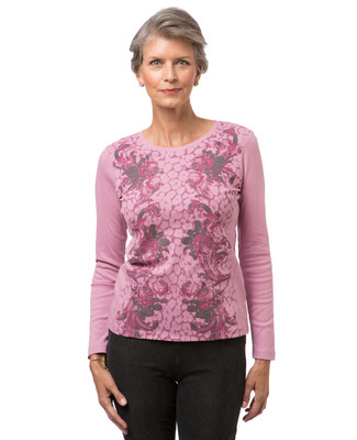Women's pink long sleeve crew neck print t-shirt