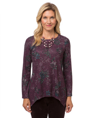 Women's purple petite bell sleeve floral top