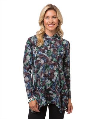 Women's long sleeve print top with sharkbite hem