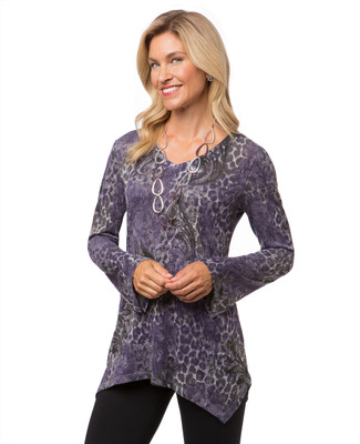 Women's purple animal  print top with flared sleeves