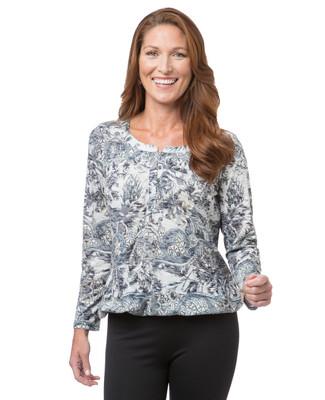 Women's long sleeve paisley top