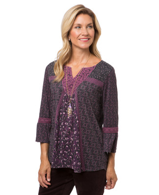 Women's purple three quarter bell sleeve top