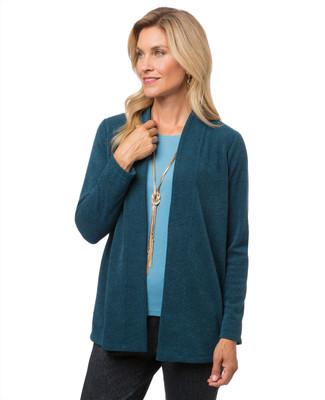 Women's open-front tweed cardigan