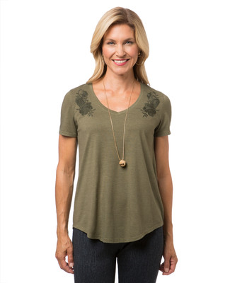 Women's green embroidered t-shirt