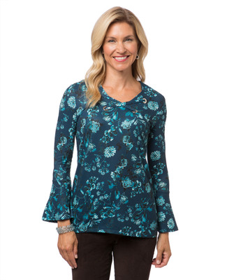 Women's flared sleeve blue floral knit top with lace neck