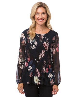 Women's Point Zero navy pleated floral blouse