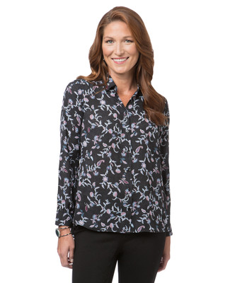 Women's black floral blouse with peplum back