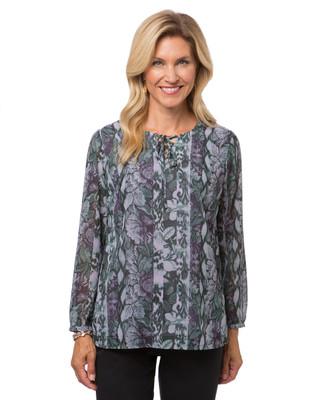 Women's petite floral V-neck tunic
