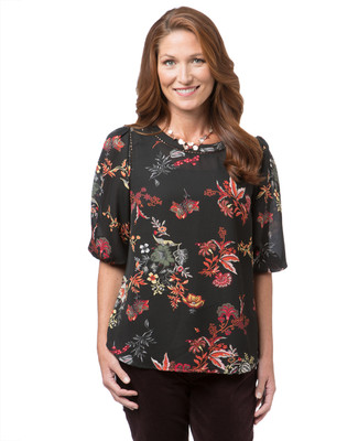 Women's floral print top with crochet details
